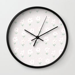 Hand painted blush pink white floral polka dots illustration Wall Clock