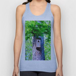 Old Bird House On A Large Larch Tree In Spring. Fresh Green Leaves And Needles Unisex Tank Top