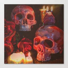 Catacomb Culture - Rose Skull Candle Canvas Print