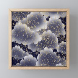 Cloudy night with falling stars digital art Framed Mini Art Print