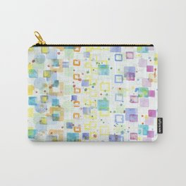 Light Squares with Drops Pattern Carry-All Pouch