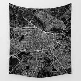 Amsterdam Black Map Wall Tapestry