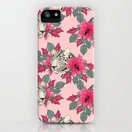 Classy cactus flowers and leopards design iPhone Case