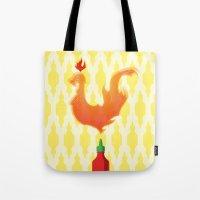 sriracha Tote Bags featuring Sriracha by Myth