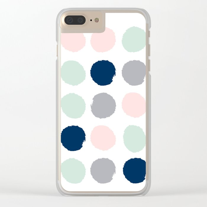 Trendy color palette minimal painted dots polka dot minimalist pink mint grey navy Clear iPhone Case