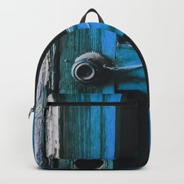 closeup old blue vintage wood door texture background Backpack