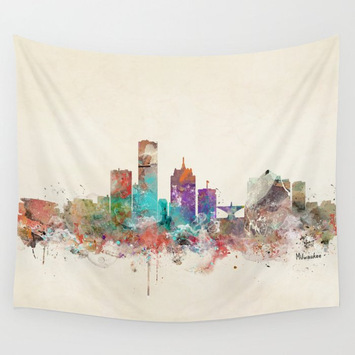 milwaukee wisconsin skyline wall tapestry by bribuckley society6