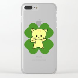 Cat On Four Leaf Clover - St. Patricks Day Funny Clear iPhone Case