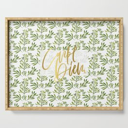 carpe diem - gold foil with green foilage Serving Tray