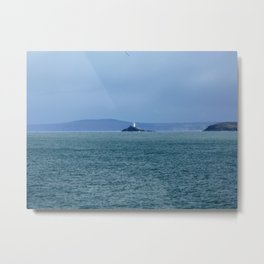 Godrevy Lighthouse in Cornwall Metal Print