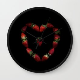 Heart of strawberries Wall Clock