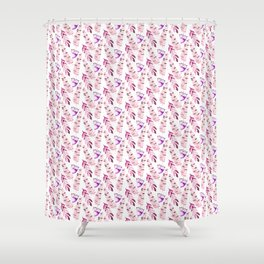 Pastel pink lilac lavender watercolor floral fern leaves Shower Curtain