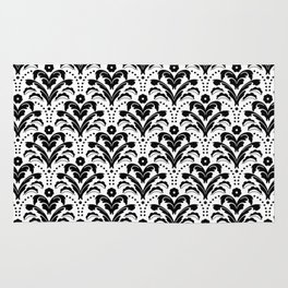 Retro Deco Damask Black and White Rug