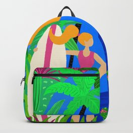 Surfer Girl Tropical Beach And Ocean Waves Backpack