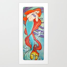 Nouveau Mermaid  Art Print