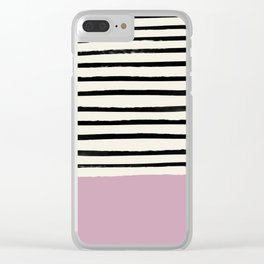 Dusty Rose & Stripes Clear iPhone Case