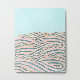 Venetian Waves // Vintage Abstract Pink Blue and Gold Summer Illustration Digital Beach Wall Decor Metal Print