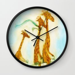 Family of giraffes rides a bicycle-tandem Wall Clock