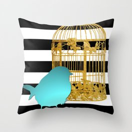 Bird Silhouette & Golden Cage Throw Pillow