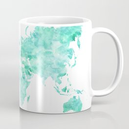 Teal aquamarine watercolor world map Coffee Mug
