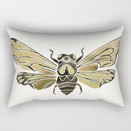 Summer Cicada – Black & Gold Palette Rectangular Pillow