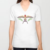 swallow V-neck T-shirts featuring Barn Swallow by Berneri