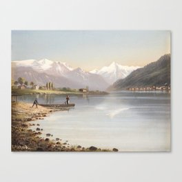 Hubert Sattler (Vienna 1817-1904 Vienna) Lake Zell and the Kitzsteinhorn Canvas Print