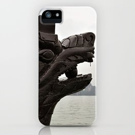 Chinese dragon head wood carving tourist boat in the Halong Bay in northern Vietnam. iPhone Case