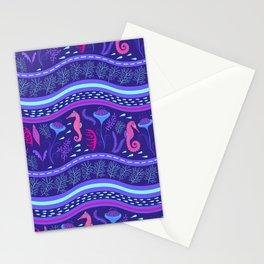Purple wavy sea pattern with sea horses and algae. Stationery Cards