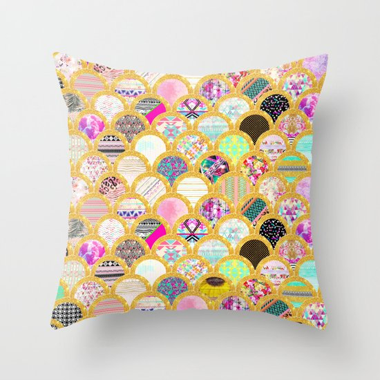 Modern Scallop Pattern Trendy Girly Gold Glitter Throw Pillow by Girly Trend Society6