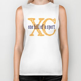 Purple & Gold XC: one hill of a course (cross country) Biker Tank