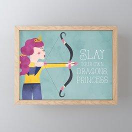 Slay Your Own Dragons, Princess Fierce Female Bow and Arrow Archery Art Framed Mini Art Print