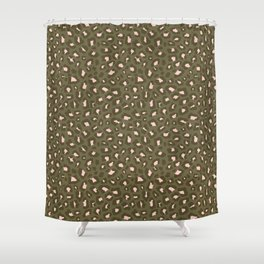 Leopard Print 2.0 - Olive Green Shower Curtain
