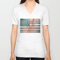 american flag V-neck T-shirts featuring American flag by Bekim ART
