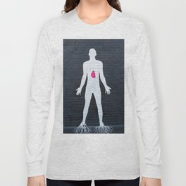 mural depicting a man painted in white with a red heart Long Sleeve T-shirt