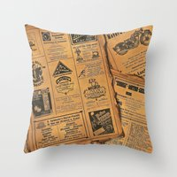newspaper Throw Pillows featuring old newspaper by Marianna Burk