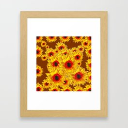 Coffee Brown & Red Centered Yellow Sunflowers Framed Art Print