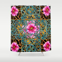 Black-gold & Aqua Fuchsia Dahlias Inter-twining Art Nouveau Shower Curtain