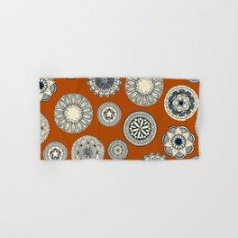 mandala cirque spot orange Hand & Bath Towel