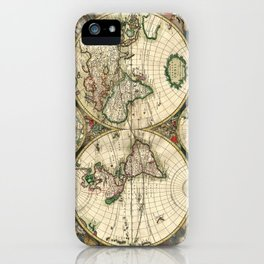 Old map of world hemispheres. Created by Frederick De Wit, 1668 iPhone Case