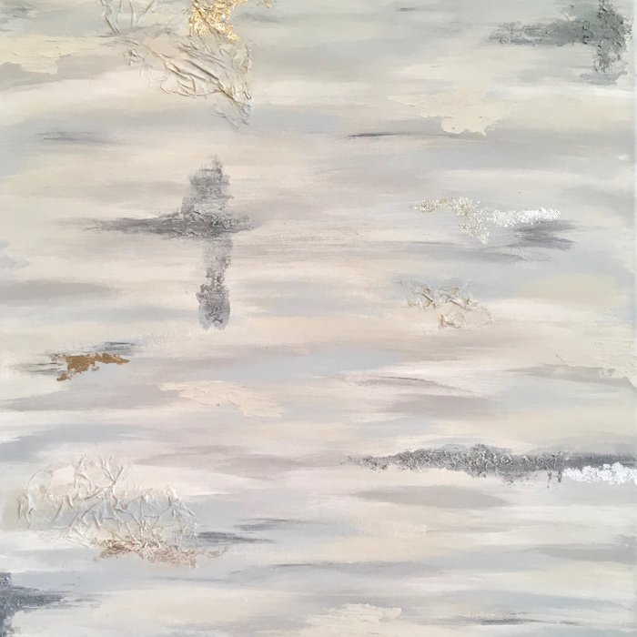 Neutral Driftwood Gray Abstract with Silver Foil Comforters