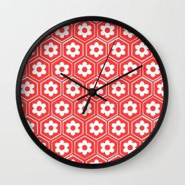 sesshomaru inspired japanese flower pattern Wall Clock