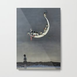 """ Moon's First Voyage"" Fairy Art by W Heath Robinson Metal Print"