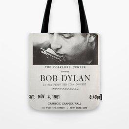 Vintage 1961 Bob Dylan Carnegie Hall Folk Festival Concert Gig Poster Tote Bag