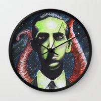 lovecraft Wall Clocks featuring Lovecraft by Kristen Champion