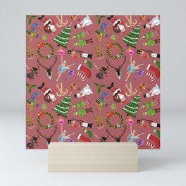 The Elements of Christmas (Pattern) (Red) Mini Art Print