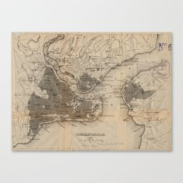 Vintage Map of Constantinople (1859) Canvas Print