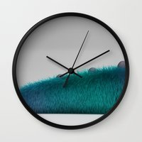 monster inc Wall Clocks featuring Monsters inc by jacobo Gonzalez