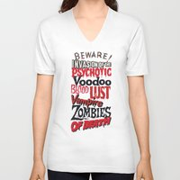 movie posters V-neck T-shirts featuring B Movie Beware by ochre7