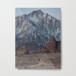 Snowy Mount Whitney And Car Metal Print